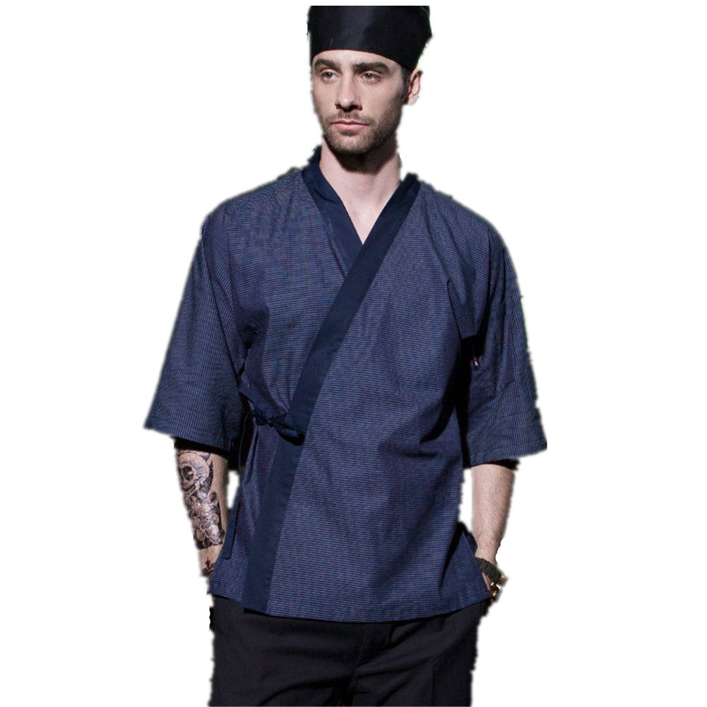 XINFU Japanese Kimono Short Sleeve Chef Kitchen South Korean Cooking Clothes Cook Clothes Korean Summer Dress Chef's Work Clothes