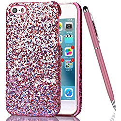 iPhone 5S Custodia, iPhone 5 Cover Rigida, Felfy Fashion Colorate Apple iPhone SE/5/5S Ultra Sottile Slim Dure Plastica Bumper Shell Clear Cover Bling Glitter Brillantini Copertura Protettiva Tasca Custodia Cover Case con Rosa Stilo Penna