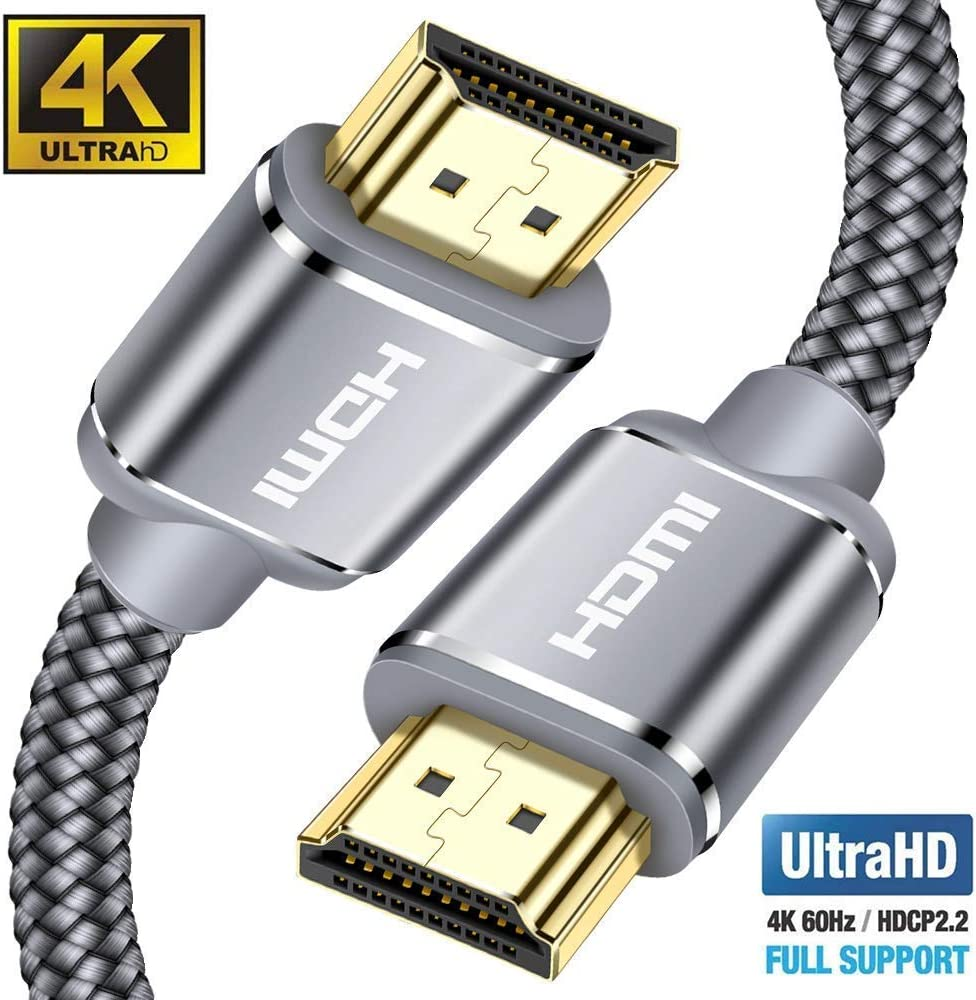Cable HDMI 4K 4.5m-Snowkids Cable HDMI 2.0 Ultra Alta Velocidad 18Gbps Cable Trenzado de Nylon 4K a 60Hz Compatible con Fire TV, 3D,Función Ethernet, Video 4K UHD 2160p, HD 1080p-Xbox 360 PS4 - Gris