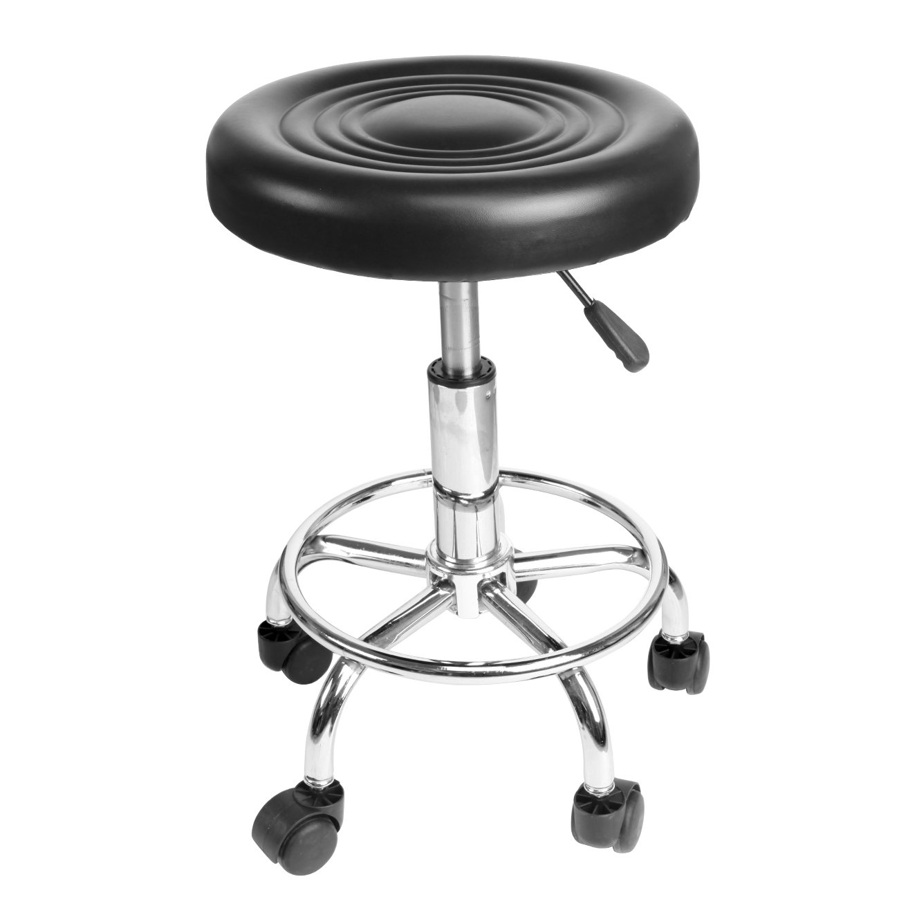 Ridgeyard Relief Hydraulic Salon Spa Drafting Stool Chair with Wheels Massage Swivel Chair Barber Seat (Black)