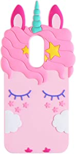 TopSZ Pink Unicorn Case for Samsung Galaxy J3 Achieve/J3 Star/Express Prime 3,3D Cartoon Silicone Kawaii Animal Cute Girls Kids Teens Horse Cover for Amp Prime 3/Sol 3/J3 Orbit/J3 Emerge 2018 J3 2018