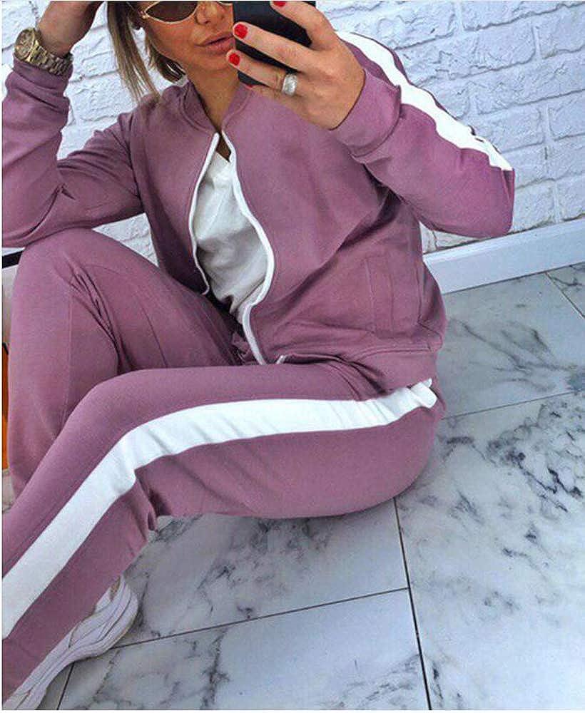 Babao Donna Jogging Sportwear Manica Lunga Loungewear Set 2 Pezzi