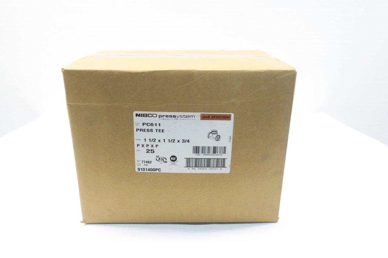 BOX OF 25 NEW NIBCO PC611 PRESSYSTEM PRESS TEE 1 1/2 X 1 1/2 X 3/4IN D587742