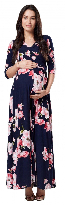 Happy Mama Womens Maternity Nursing Maxi Dress 3/4 Sleeves Double Layered 608p (Style 1, US 4, S)