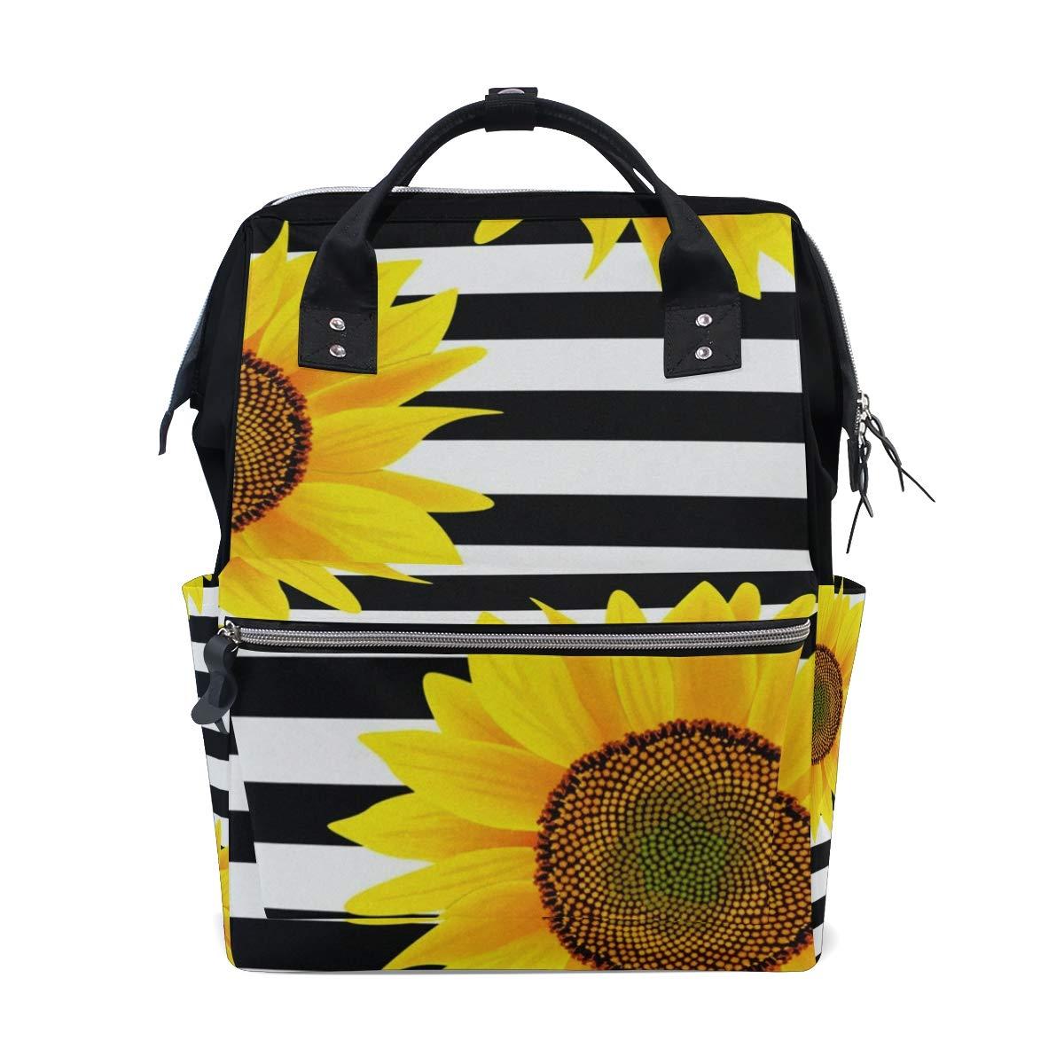Sunflower 白と黒のストライプおむつバッグバックパック 大容量 多機能旅行バックパック お昼寝バッグ 旅行ママバックパック ベビーケア用   B07KP9R4HJ