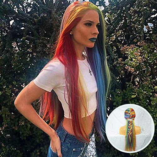 Everystyle Lace Front Wigs Rainbow Multi Color Glueless Synthetic Wig Long Straight For Women Natural Mix 8 Color,with Free Cap 24 inches ()