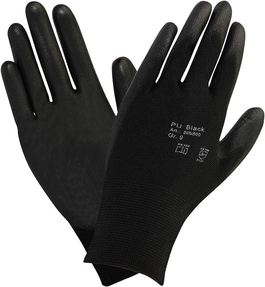 workAnt 10 pares - Guante algodón puntos con un suave recubrimiento de PU - Negro,Talla: 8: Amazon.es: Ropa y accesorios