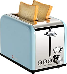Gohyo 2 Slice Toaster 100% Stainless Steel with Wide Slots & Removable Crumb Tray for Bread & Bagels (Blue)