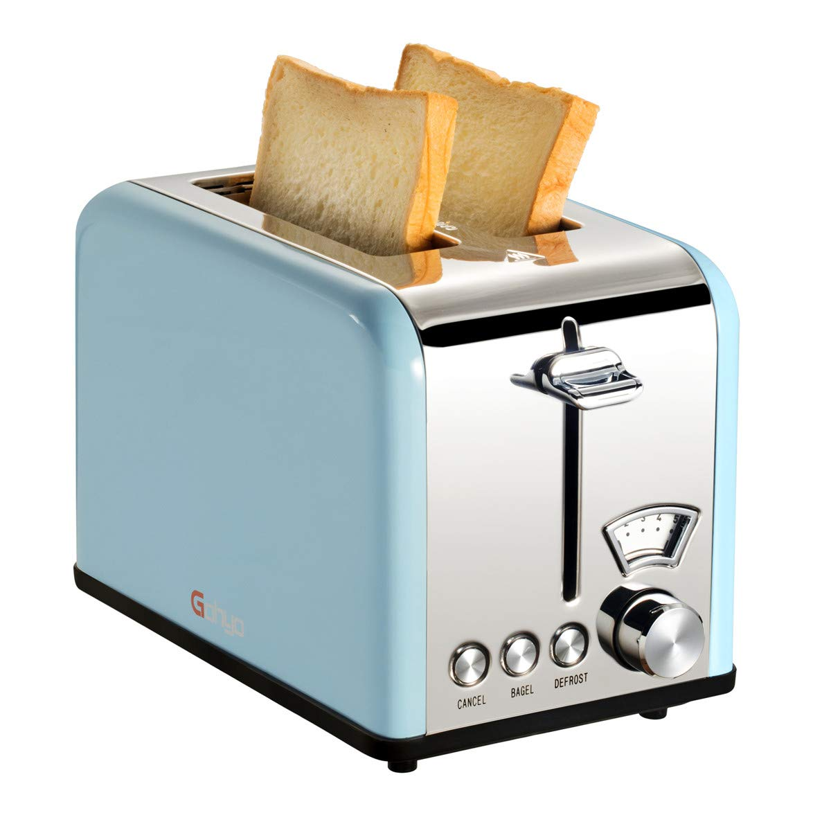 Gohyo 2 Slice Toaster 100% Stainless Steel with Wide Slots & Removable Crumb Tray for Bread & Bagels (Blue) by Gohyo