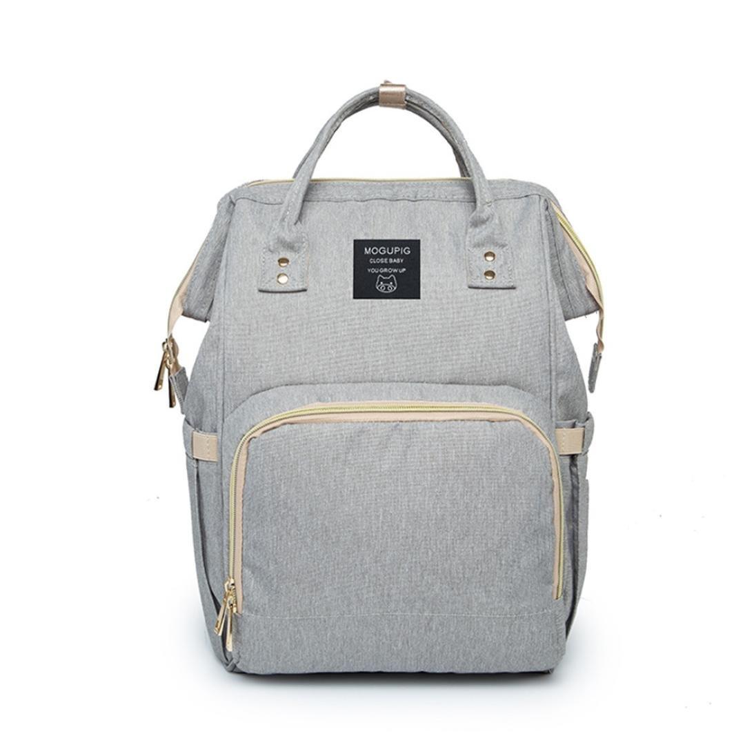 Mummy Bag, Hunzed Nappy Bag Large Capacity Baby Bag Travel Backpack Handbag Shoulder Bag Ladies Desiger Nursing Crossbody Bag (Gray) by Hunzed (Image #2)