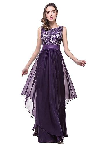 Babyonlinedress Babyonline Elegant Lace Chiffon Round Neck Long Formal Evening Party Dress