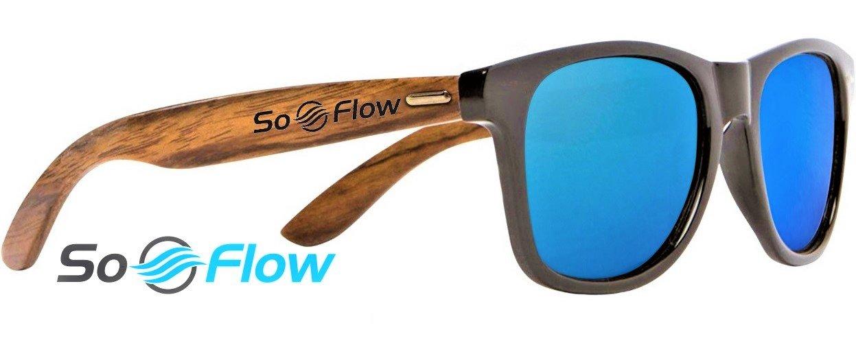 Blue Polarized Walnut Wood Sunglasses Men Women - Wooden - Wayfarer - Mirrored / Mirror - Lightweight - UV 400 - Blue Lens Polarized Sunglasses - Cool Beach Pool Driving Fishing Shades - Walnut