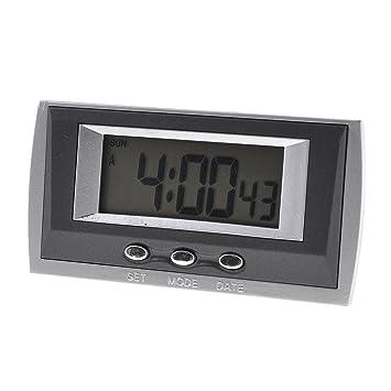Tres negro gris del teclado 58 x 24 mm Pantalla batería del reloj digital de coches