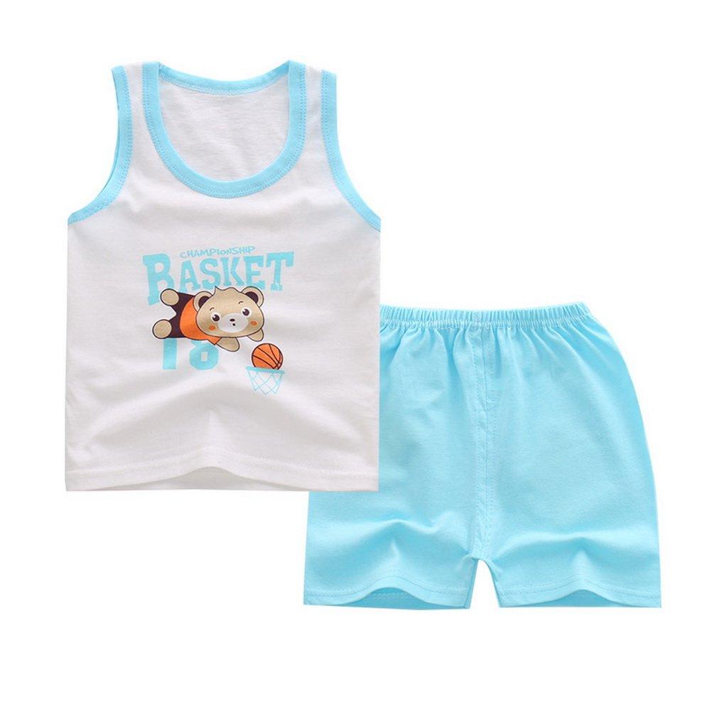 ARAUS Completini Da Bambini Infantile Estiva Coordinati 2 Pezzi Canotte + Pantalocini 0-5 Anni, 34 Modelli da scegliere 5140P10