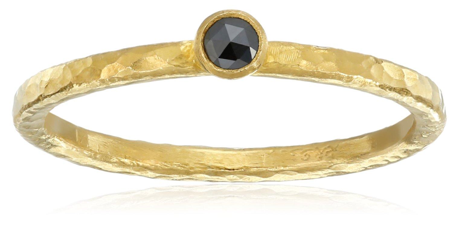 GURHAN Skittle Black Diamond High Karat Gold Stacking Ring, Size 6.5 by Gurhan
