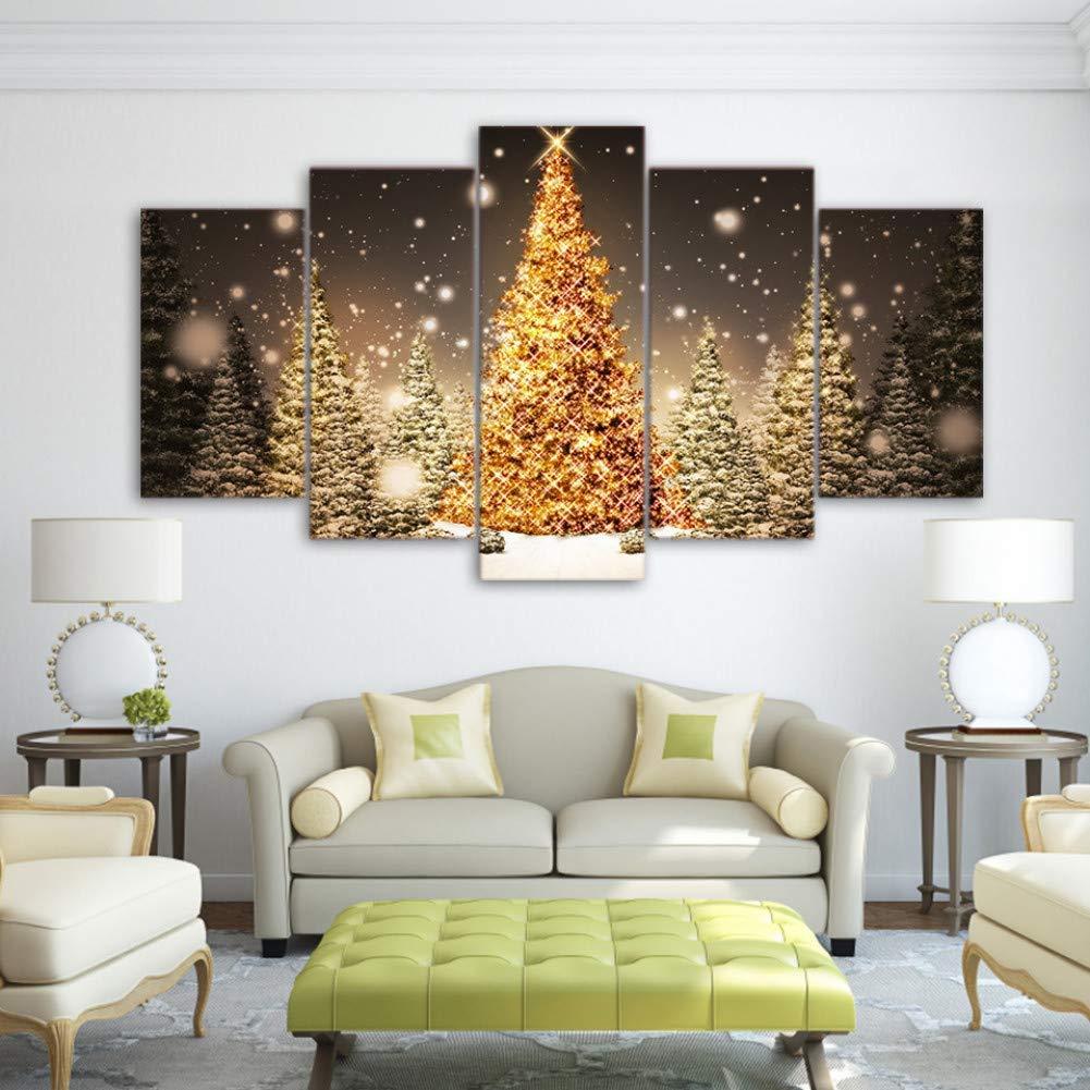 forma única No No No Frame 30x50 30x70 30x80cm YHEGV Impresiones en Lienzo Pinturas en Lienzo Arte de la Parojo Decoración navideña navideña HD Imprime 5 Piezas árboles de Navidad Dorados Imágenes Salón Posters Marco  a la venta