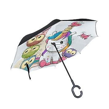 Bonito paraguas de unicornio de dibujos animados con ramas invertidas, doble capa, arco iris