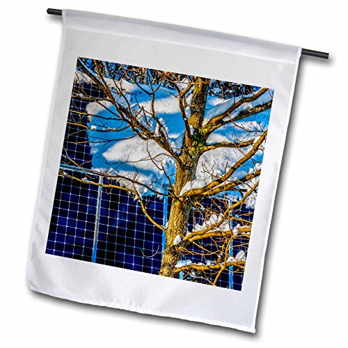 3dRose Alexis Photography - Objects - Young oak tree and a snow covered solar power panel in winter park - 18 x 27 inch Garden Flag (fl_280888_2) -