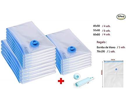 Nexos Juego de 22 Bolsas de vac/ío 6 tama/ños Diferentes Reutilizables Bolsa de Ropa Bolsa de compresi/ón con aspiradora Incluye Bolsa de Viaje para enrollar