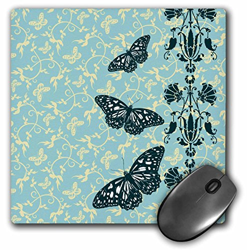 3dRose Russ Billington Designs - Butterflies with Floral Stripe Over a Flowery Background - Mousepad (mp_220196_1)