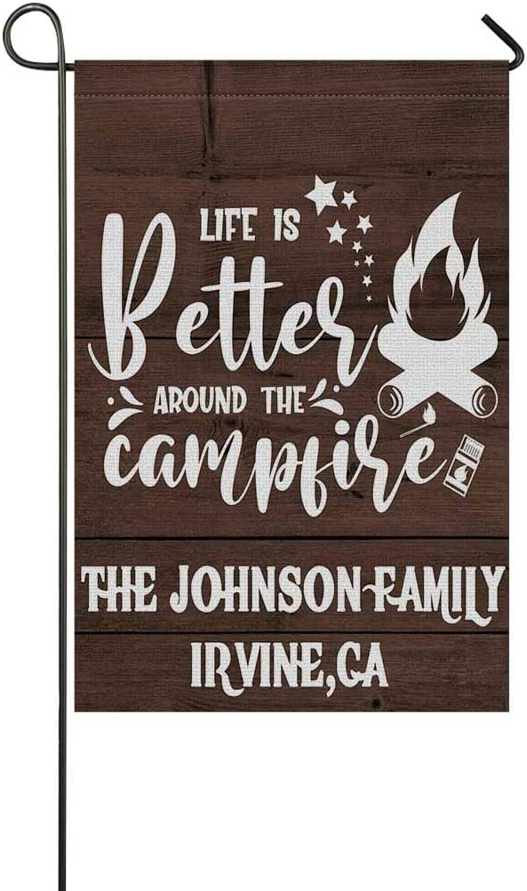 """MyPhotoSwimsuits Personalized Camper Garden Flags for Outdoor Custom Camping Yard House Banner Home Lawn Welcome Decoration 12.5""""X 18"""" Double Sided Lift is Better Around The Campfire"""