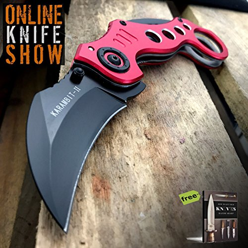TACTICAL RED SPRING KARAMBIT ASSISTED Pocket Folding Knife Open Folding Bear Claw Carbon Steel Razor Sharp Blade + Free eBook by SURVIVAL - Knife Bear Claw Neck