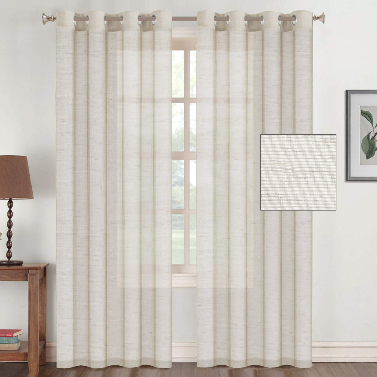 Flamingo P Linen Curtains for Living Room 84 inch Nickel Grommet Linen Sheer Curtains for Patio Doors -Set of 2, Natural