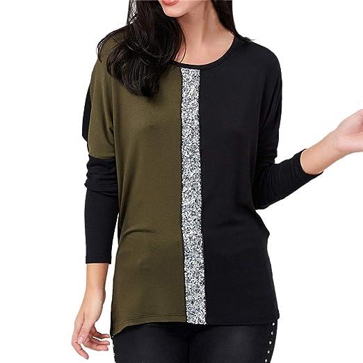 d48b8e8c182a Amazon.com: Wobuoke Fashion Women Long Sleeve Color Block Patchwork ...