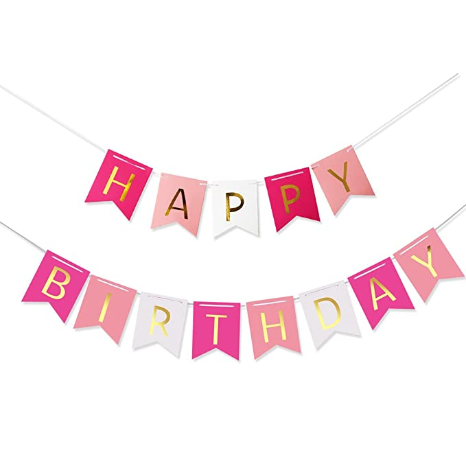 Pixnor – Multicolor Happy Birthday guirnalda Banner Cumpleaños Decoración
