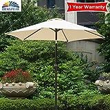 Cheap Dienspeak Updated Version 7.5 ft. Round Outdoor Beach Market Patio Umbrella with Push Button Tilt and Crank Lift (Beige(w/cover))