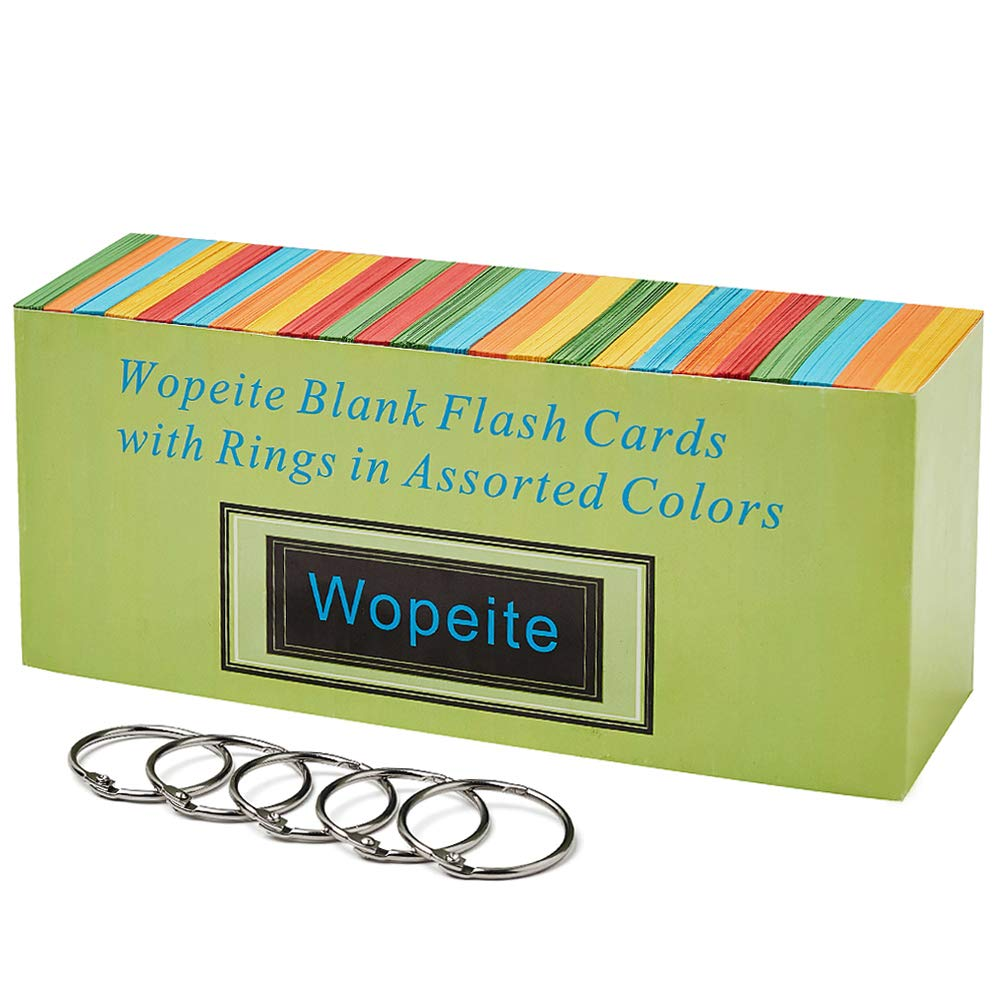 Wopeite Blank Flash Cards Index Card Ring Rings in Assorted Colors 1000 Index Cards Single Hole Punched with 5 Rings,3.07 X 2.1 inches