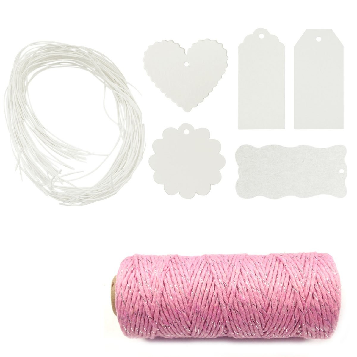 Wrapables 100-Count White Gift Tags with Free Cut String for Gifts Crafts and Price Tags Plus Cotton Baker's Twine, 12 Ply/110-Yard, Pink/Metallic Silver