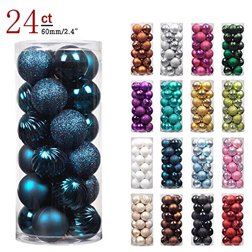 "KI Store 24ct Christmas Ball Ornaments Shatterproof Christmas Decorations Tree Balls for Holiday Wedding Party Decoration, Tree Ornaments Hooks included 2.36"" (60mm Midnight Blue) (Christmas And Red Teal)"