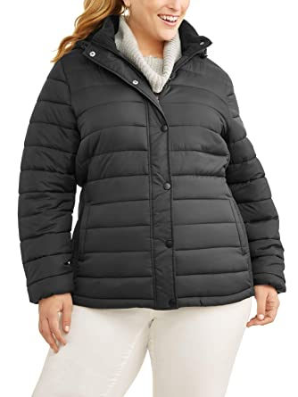 34f9f9d33ba Time and Tru Plus-Size 1X-5X Women s Hooded Bubble Puffer Coat Jacket