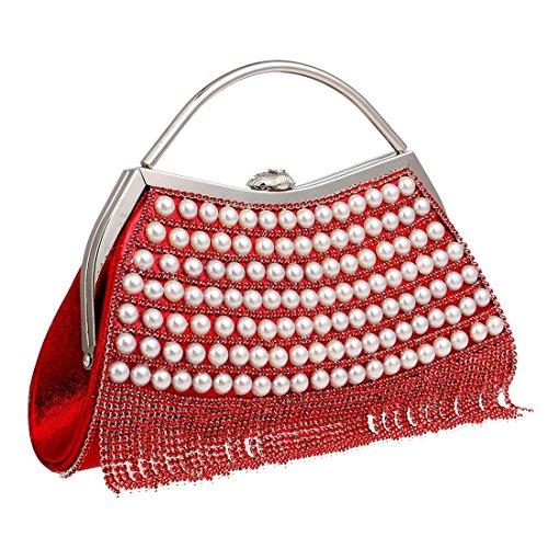 De Kervinfendriyun color Mujer Lujo Bolso Bolsos Mini Yy4 Blue Noche Cute Red Con Diamantes Monedero Embrague Small rTTEq