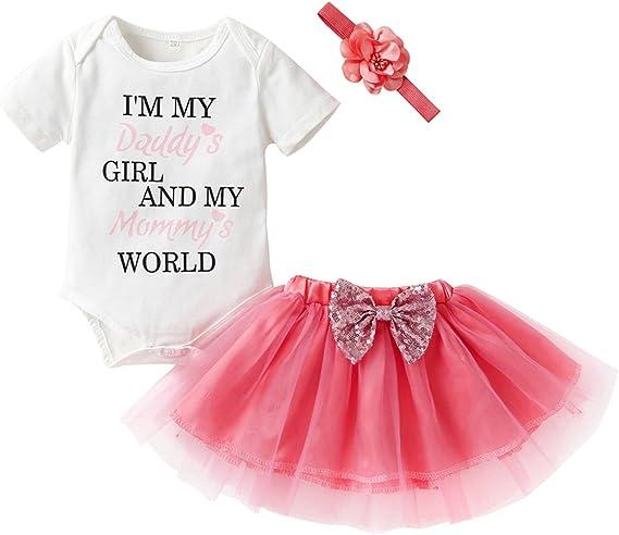 USA Cute Newborn Baby Girl Outfits Clothes Tops Romper+Tutu Shorts Pants Set