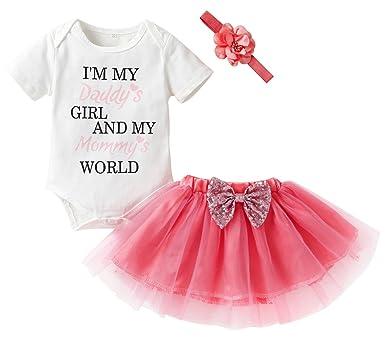 2388f8516b04 HappyMA Newborn Infant Kids Baby Girls Outfits Set Letter Romper Tops+Tutu  Skirt+Headband