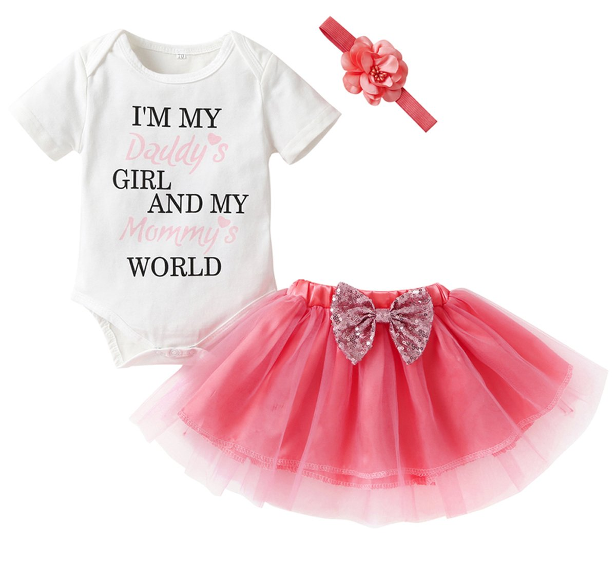 HappyMA Newborn Infant Kids Baby Girls Outfits Set Letter Romper Tops+Tutu Skirt+Headband (0-3 Months)