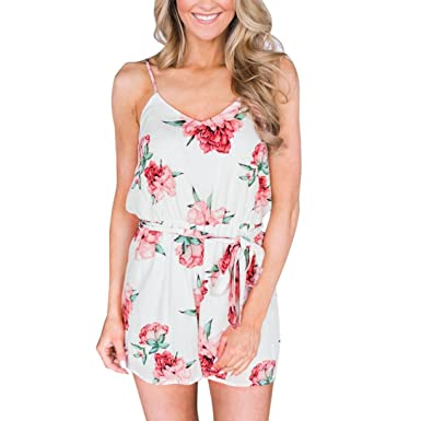 46c9a5c700 Yukong Women s Boho Floral Print Straps Shorts Jumpsuit with Belt  Sleeveless Wide Leg Playsuits Romper (