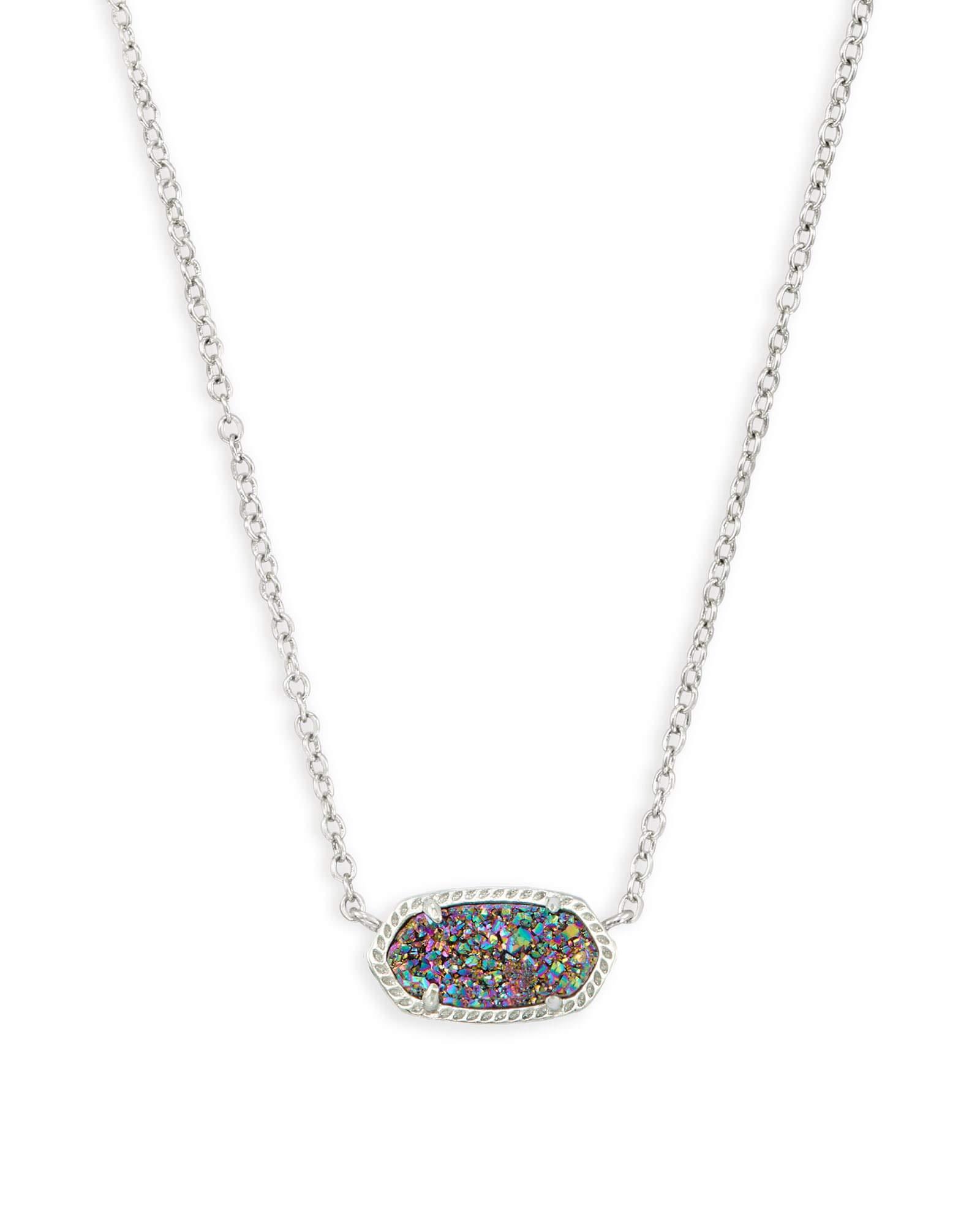 Kendra Scott Elisa Oval Pendant Necklace in Multi Drusy & Rhodium