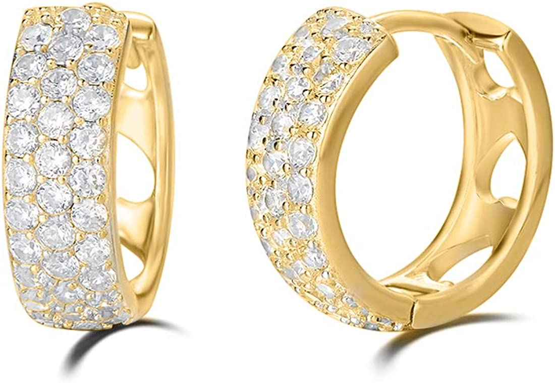 Carleen 14K Gold Plated Sterling Silver Pave Set Stunning Cubic Zirconia CZ Simulated Diamond Small/Tiny/Mini/Little Thick Huggie Cartilage Hoop Earrings for Women Girls, Diameter 15mm Width 5mm