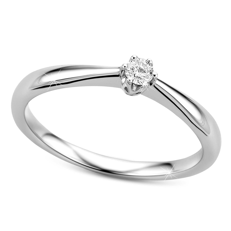 Verlobungsringe Weißgold Ring 585 Diamant Ring 0 05 Carat H si