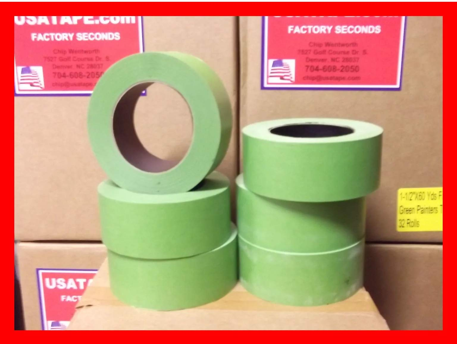 24 Rolls 2''X 60 Green Painters Masking Tape by USA Tape