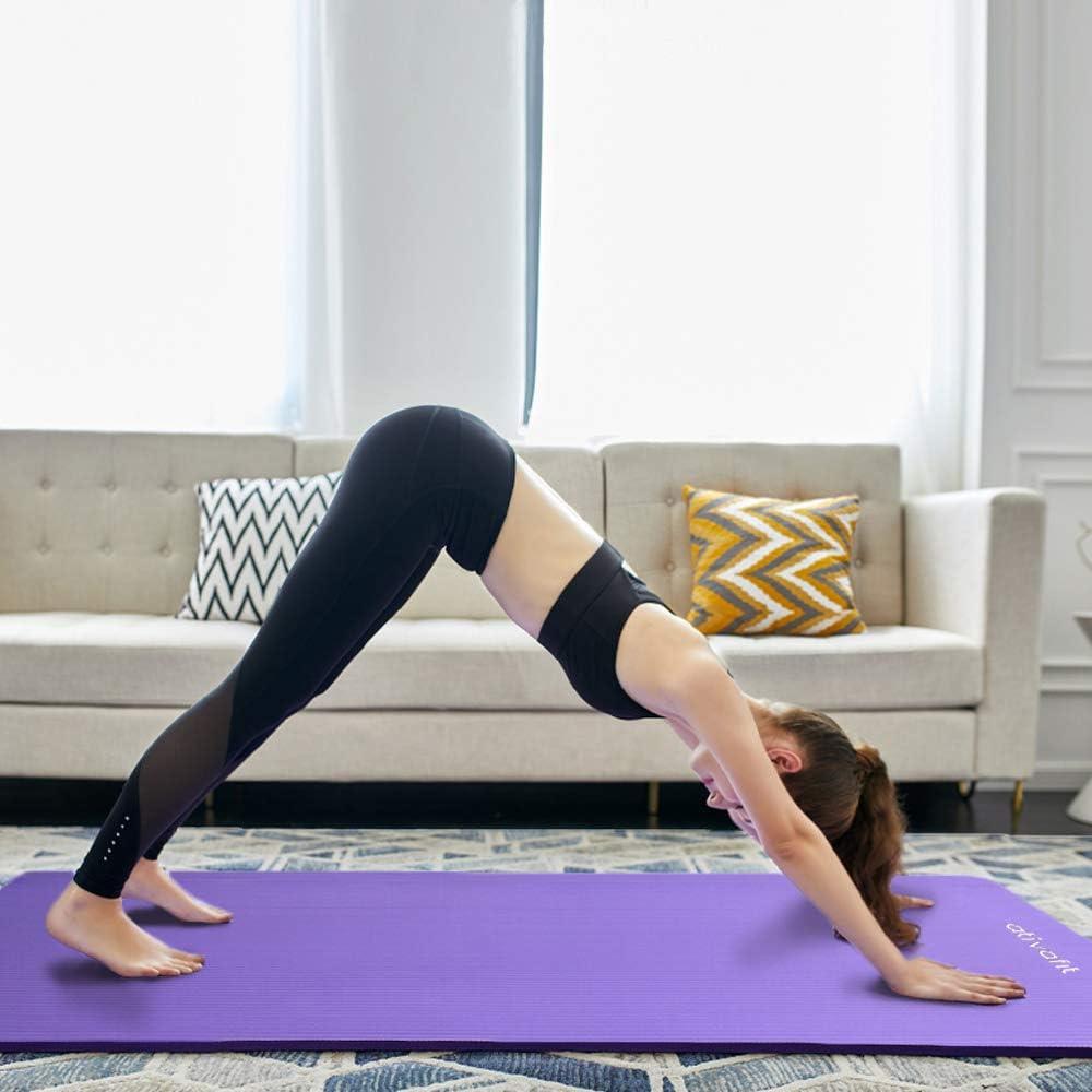 Yoga Espuma de Alta Densidad NBR- Colchoneta Antideslizante para Gimnasio 183 cm Largo x 61 cm Ancho x 1cm Espesor Ejercicios para el Piso Pilates Atviafit Fitness Alfombrillas Esfera Confort