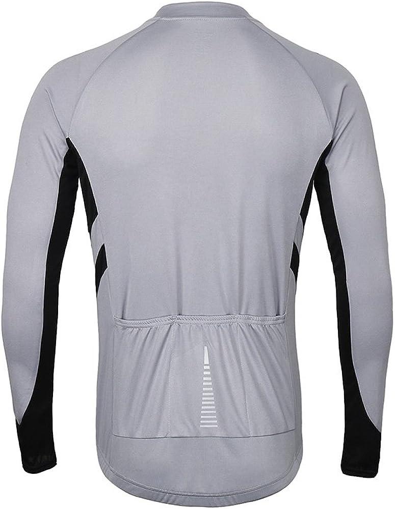 ARSUXEO Mens Full Zipper Long Sleeves Cycling Jersey Bicycle MTB Bike Shirt 6030