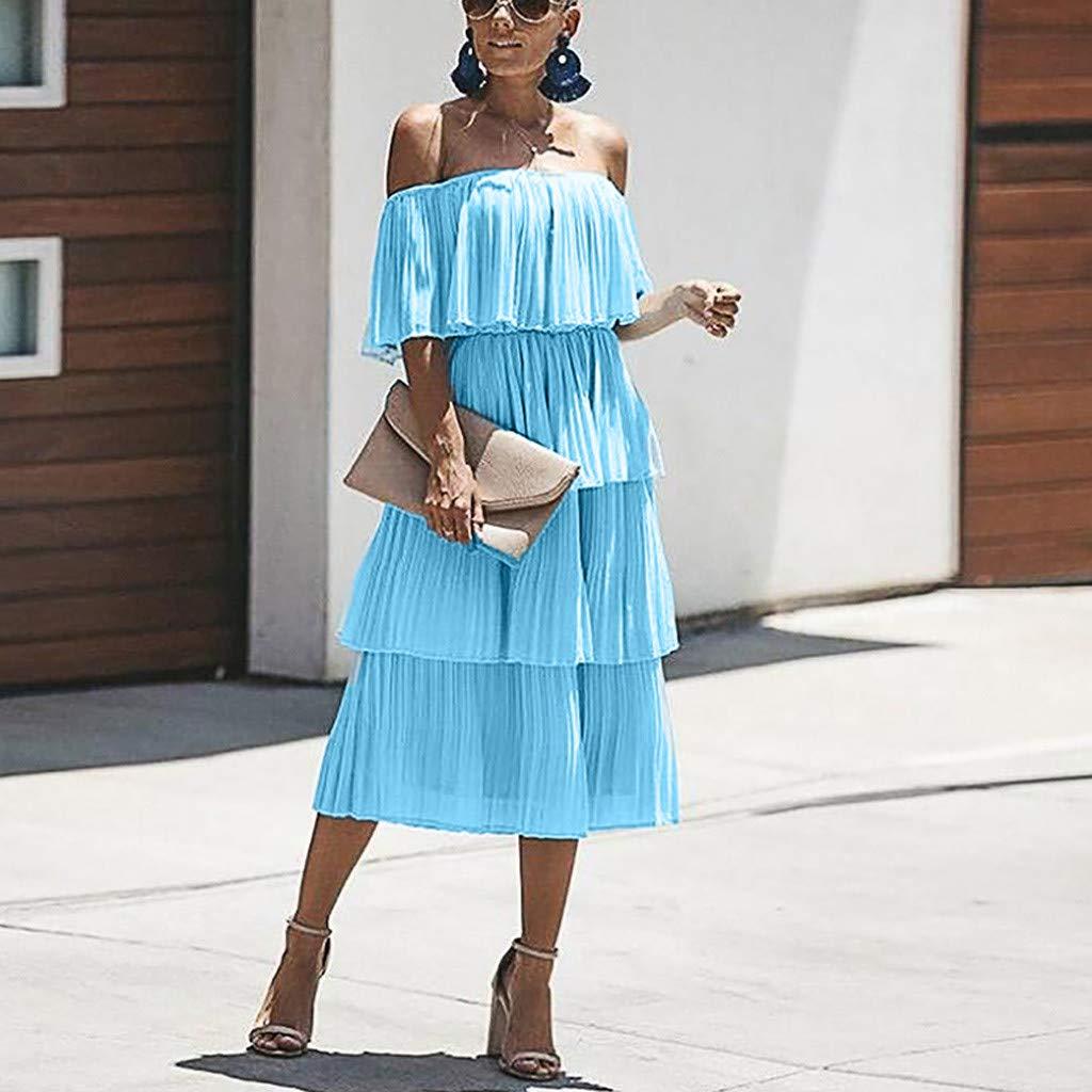 Annhoo Fashion Women Off The Shoulder Sleeveless Tiered Ruffle Pleated Casual Midi Dress