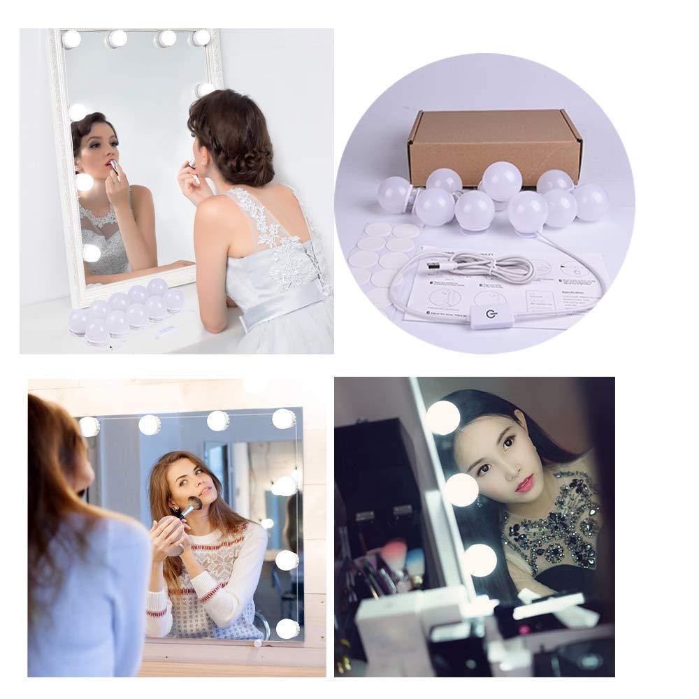 Luci Da Specchio Hollywood LOBKIN 10 Lampadine Dimmerabili Lampada da Specchio Cosmetico Lampada da Bagno LED Luce Dello per Trucco Fai da Te Apparecchio di Illuminazione con Dimmer e Alimentatore USB