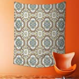 aolankaili Print Decorative Throw Fabric Tapestry Wall Hanging Middle Eastern Islamic Chevron Pattern with Damask Effects Print Umber Yellow Cream Art Decor for Bedroom
