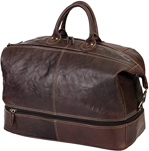 Travel Duffel Bag ARIZONA Made Of Buffalo Leather Luggage Weekend Tote By Alpenleder Brandy