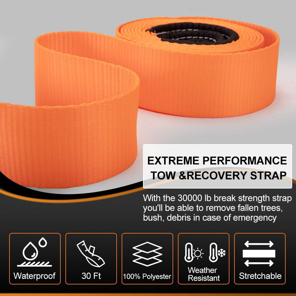 BUNKER INDUST Recovery Tow Strap 3 x 30ft Heavy Duty 30,000 lbs Strength Tow Rope with Storage Bag Emergency Off Road Truck Accessories Towing Strap Green